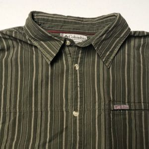 COLUMBIA VORTEX 2XL Long Sleeve Green Stripe Shirt